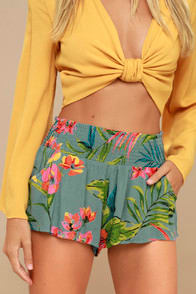 Waves All Day Teal Green Tropical Print Smocked Shorts at Lulus.com!