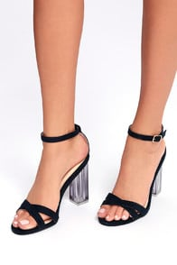 ISMAY NAVY BLUE SUEDE LUCITE HEELS at Lulus.com!