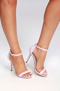 Elsi Lilac Suede Single Strap Heels at Lulus.com!