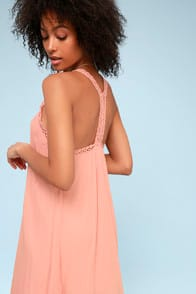 I'm Impressed Blush Crochet Dress at Lulus.com!