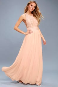 Forever and Always Blush Pink Lace Maxi Dress at Lulus.com!