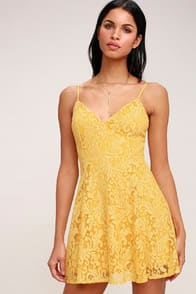 Magnolia Blossom Golden Yellow Lace Skater Dress at Lulus.com!