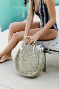 Ferndale Beige Round Woven Tote at Lulus.com!