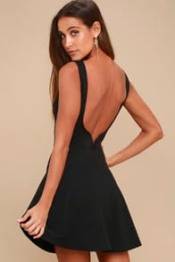 SPECIAL KIND OF LOVE BLACK BACKLESS SKATER DRESS at Lulus.com!