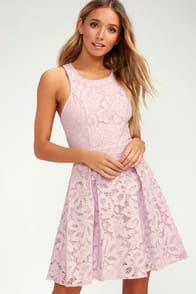 Daisy Date Lavender Lace Skater Dress at Lulus.com!
