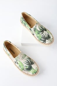 Cay Green Multi Tropical Print Slip-On Sneakers at Lulus.com!