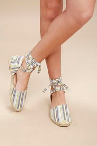 Dashiell Multi Striped Lace-Up Espadrille Flats at Lulus.com!