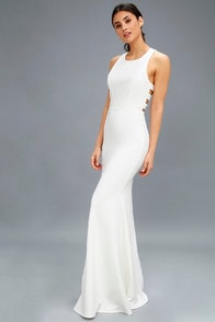 Power of Wow White Backless Maxi Dress at Lulus.com!