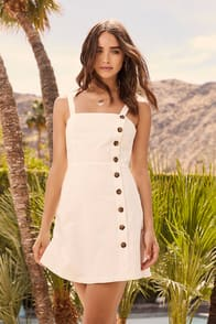 Louetta White Button-Down Mini Dress at Lulus.com!