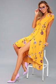 Lost in You Golden Yellow Floral Print Midi Dress at Lulus.com!