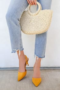 Mathilda Mustard Yellow Suede Slingback Pumps at Lulus.com!