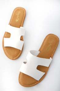 KELSIE WHITE SLIDE SANDALS at Lulus.com!