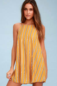 Lulus Sweet Little Lines Golden Yellow Striped Shift Dress at Lulus.com!