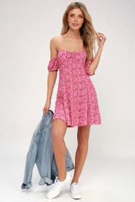 Maybel Hot Pink Floral Print Off-the-Shoulder Babydoll Dress at Lulus.com!