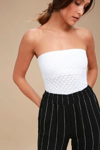 Free People Honey White Textured Tube Top at Lulus.com!