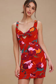 Free People Sweet Cherry Red Floral Print Bodycon Dress at Lulus.com!