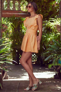 NEW ERIN GOLDEN YELLOW TIE-BACK SKATER DRESS at Lulus.com!