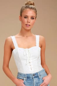 MAKE ME UP IVORY LACE-UP BODYSUIT at Lulus.com!