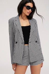 Checked Out Black and White Gingham Blazer at Lulus.com!