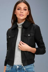 Ziggy Black Vegan Leather Bomber Jacket at Lulus.com!