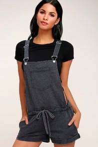 CANDACE WASHED BLACK SHORT OVERALLS at Lulus.com!