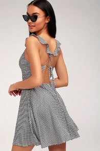Alviso Black and White Gingham Backless Skater Dress at Lulus.com!