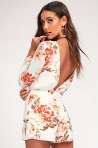 Flower Power White Floral Print Backless Romper at Lulus.com!