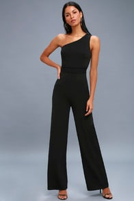 Dance 'til Daylight Black One-Shoulder Jumpsuit at Lulus.com!