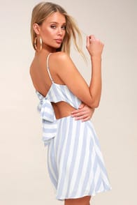 Port Isabel Blue and White Striped Skater Dress at Lulus.com!