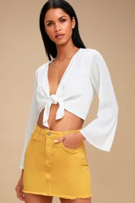 Pop and Lock Mustard Yellow Denim Mini Skirt at Lulus.com!