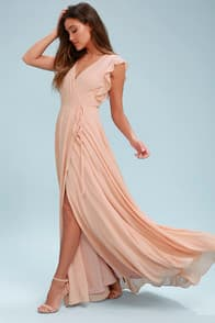 Crescendo Blush Wrap Maxi Dress at Lulus.com!