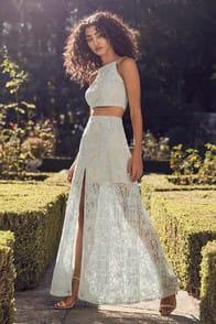 Vivid Details Mint Blue Lace Two-Piece Maxi Dress at Lulus.com!