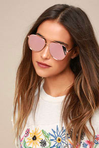CHIARA ROSE GOLD MIRRORED AVIATOR SUNGLASSES at Lulus.com!
