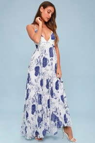 Dahlia Blue and White Floral Print Maxi Dress at Lulus.com!