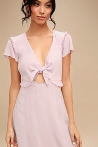 Seaport Lavender Tie-Front Dress at Lulus.com!