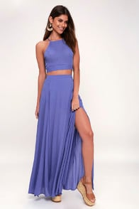 Fete Ready Periwinkle Blue Two-Piece Maxi Dress at Lulus.com!