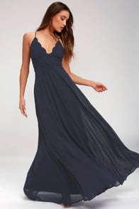 Madalyn Navy Blue Lace Maxi Dress at Lulus.com!