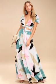 Daydreaming White Print Two-Piece Maxi Dress at Lulus.com!