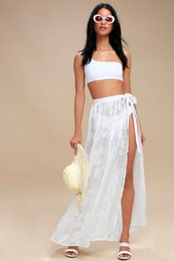 Take the Caicos White Shell Print Cover-Up Maxi Skirt at Lulus.com!