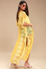 SWEET HONEY YELLOW LACE KIMONO TOP at Lulus.com!