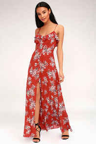 Bloom On Rust Red Floral Print Maxi Dress at Lulus.com!