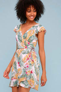 Cool, Palm, and Collected Blush Pink Tropical Print Wrap Dress at Lulus.com!
