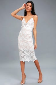 Bardot Vienna White Lace Midi Dress at Lulus.com!