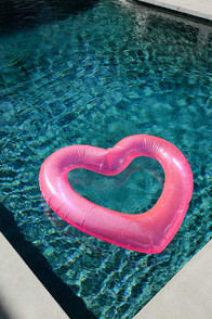 BEACH, PLEASE! NEON PINK JUMBO HEART INNER TUBE at Lulus.com!