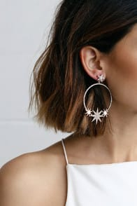 Glow Up Rose Gold Star Rhinestone Hoop Earrings at Lulus.com!