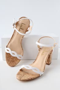 Savi White Cork Ankle Strap Heels at Lulus.com!