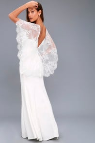 Amelie White Lace Maxi Dress at Lulus.com!
