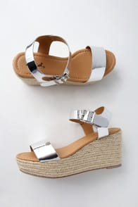 Loraine Shiny Silver Espadrille Wedges at Lulus.com!