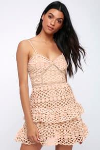 BEAUTY AND LACE PALE BLUSH CROCHET LACE MINI DRESS at Lulus.com!