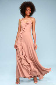 SELMAH MAUVE RUFFLED LACE-UP MAXI DRESS at Lulus.com!